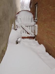 2 foot drifts near the gate